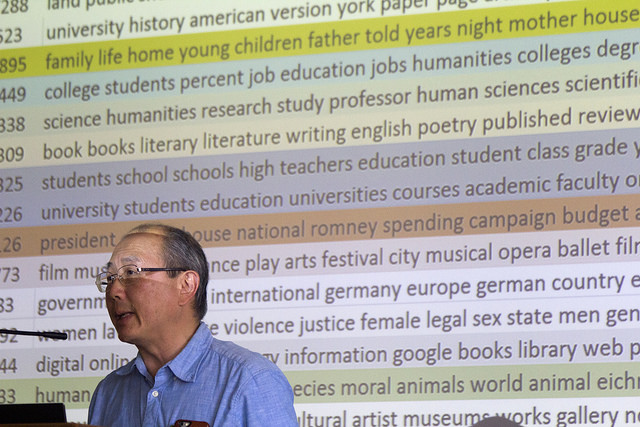 Alan Liu at presenter's podium with topic model text project behind him