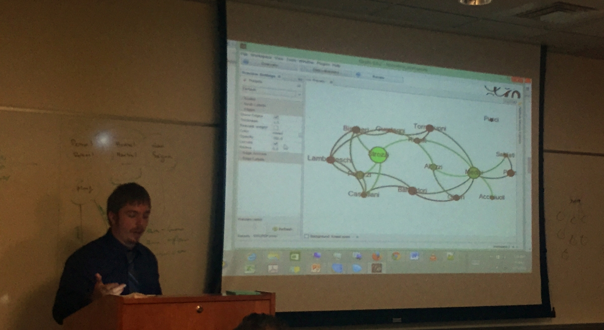 Photo: Chris Church demonstrates Gephi