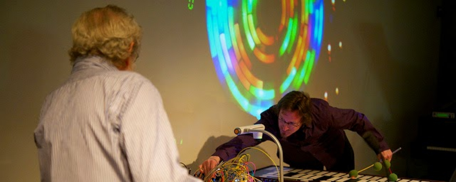 """photo credit: Don Buchla, """"How Complicated Could a Metronome Be?"""" at the Art, Tecnology, and Culture Colloquium, March 10, 2014   Credit: Greg Niemeyer"""