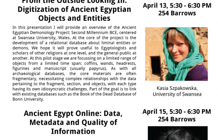 Flyer for Digital Humanities & Egyptology lectures